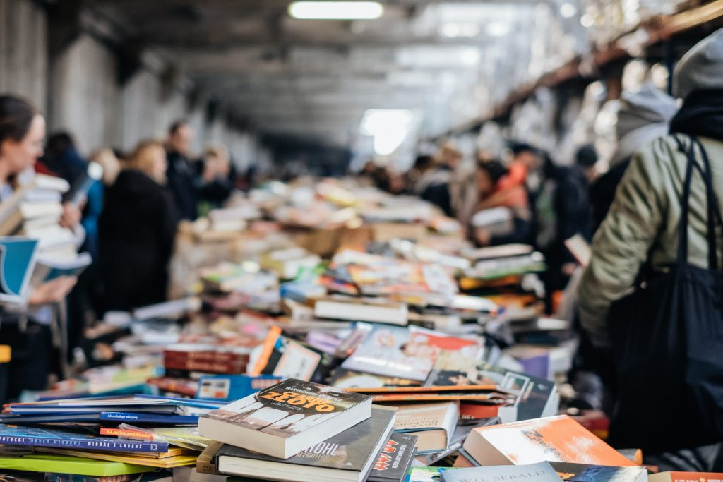 Image of a book sale that represents learning everyday
