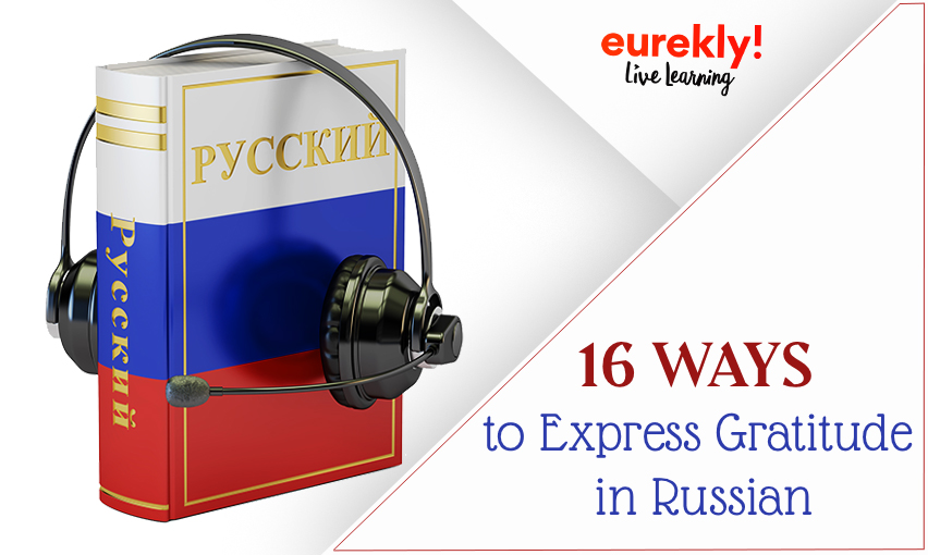 Russian textbook and headphones