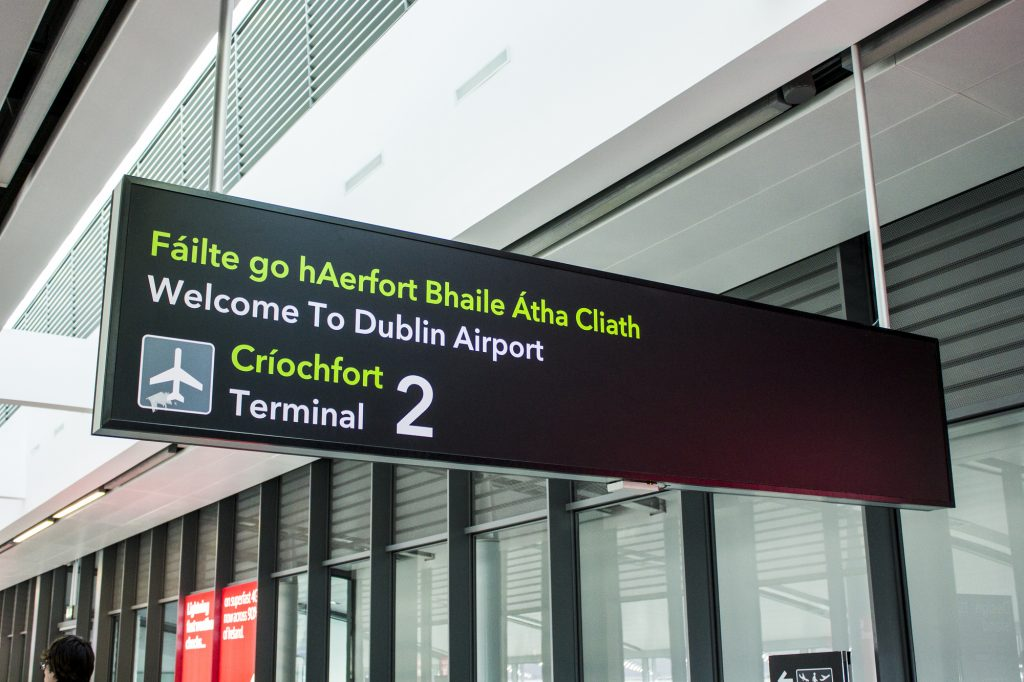 Bilingual signs in Irish and in English in the Dublin Airport, Ireland