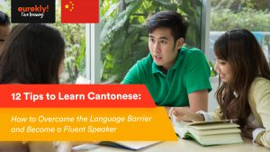 Students learning Cantonese with an Asian tutor